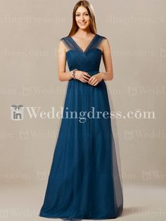 Unusual bridesmaid dress features in Tulle overlay.