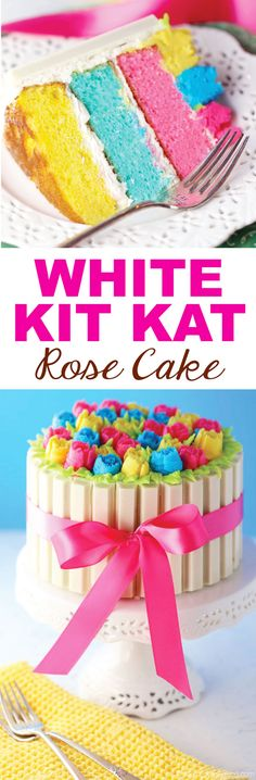 White Kit Kat Rose Cake is a vanilla cake with rainbow colored layers, buttercream frosting and white chocolate Kit Kat candy bars, topped with Russian Piping Tip roses.