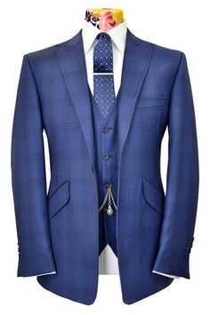 The Ashmore Prussian Blue Suit with Indigo Overcheck