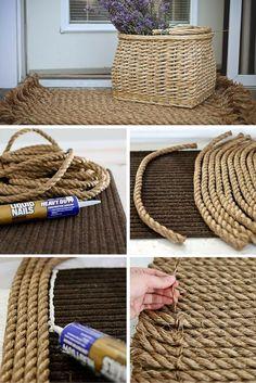 кашпо и коврик из каната