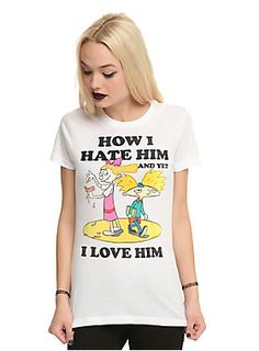 "<p>""How I Hate Him. And Yet... I Love Him."" - Helga G. Pataki</p><p>Fitted white tee from Nickelodeon with a colorful image design of Helga & Arnold on front that illustrates Helga's love/hate relationship with Arnold.</p><ul>	<li>100% cotton</li>	<li>Wash cold; dry low</li>	<li>Imported</li>	<li>Listed in junior sizes</li></ul>"