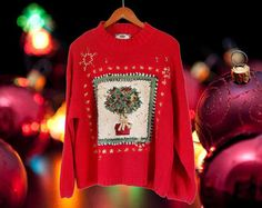 Women Ugly Christmas Sweater Party Ugly Holiday Sweater Tacky Christmas Sweater Plus Size Christmas Sweater XL Sweater Red Sweater Clothing
