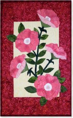 Petunia floral appliqué quilt patterns by Debra Gabel of www.ZebraPatterns. #quilts #applique