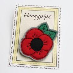 Fabric Poppy Brooch