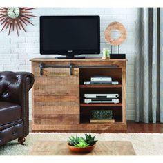 Holden Sliding Door TV Stand in Natural, Medium-Brown Wood