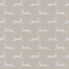 March Hare (J135W-03) - Jane Churchill Wallpapers - A lovely design featuring a leaping hare repeat in a beautiful stone colourway. Other colourways available. Please request sample for true colour match. Actual repeat is 13cm.