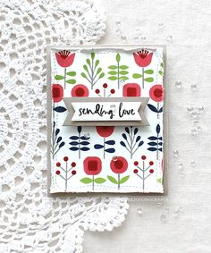 """Hello crafty friends, happy STAMPtember!My awesome crafty friend Miriam designed so pretty and modern-looking floral stamp set called """"Printmaking Florals"""". So today I want to share wit… Printmaking, Friend Cards, Cards For Friends, Simon Says, Flower Cards, Handmade Flowers, Diy Cards, Frame, Poppies"""