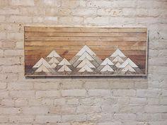 Reclaimed Wood Wall Art, Wall Decor, Lath, Geometric, Mountains, Gradient by EleventyOneStudio on Etsy https://www.etsy.com/listing/265329161/reclaimed-wood-wall-art-wall-decor-lath