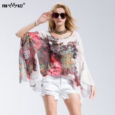 FROMMAZZ 2016 New Summer Casual Fashion Floral Women Ladies Sexy Batwing Sleeve Loose Chiffon Floral Printed Blouse Tops FS16019  #CUTE #womenfashion