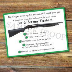 SHOT GUN WEDDING INVITATIONS OR BRUNCH AND SKEET SHOOT STATIONERY