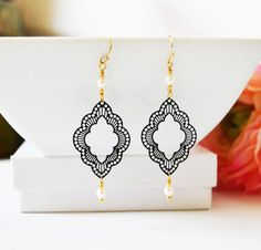 Gold and Black Filigree Earrings Pierced or Clip by Studio10102