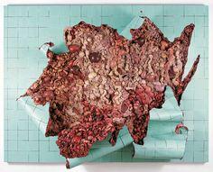 "Adriana Varejao ""Green tilework in live flesh"", 2000 Óleo sobre lienzo y poliuretano sobre aluminio Medidas: 220x290x70 cm"