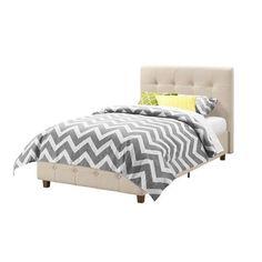 Twin Tan Linen Upholstered Platform Bed Frame, Button-Tufted Headboard