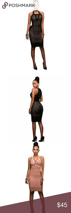Sexy mesh lace up zipper sleeveless mini dress Bodycon Party Clubwear Midi dress Dresses Midi