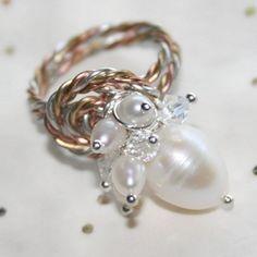Genuine FW Pearls & Swarovski Crystal Cluster Ring in a Unique Tri-Tone Design Size 5 - 10 by Marus