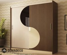 Dimensions: Width: 203 cm / Height: 215 cm / Depth: 61 cm / Colour: Oak, wenge + (glass black and vanilla) Made of high quality MDF board and PVC Wardrobe Laminate Design, Wardrobe Design Bedroom, Bedroom Bed Design, Bedroom Furniture Design, Closet Bedroom, Wardrobe Storage, Wardrobe Closet, White Wardrobe, Small Wardrobe