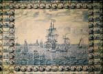 Delft tile panel depicting a shipping scene (faience)