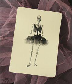Victorian Skeleton Dancer Illustration Ink Skulls