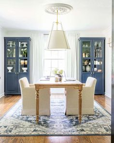 An outdated dining room gets converted to a light and bright home office with a timeless new look and functional storage. Dining Room Office, Dining Room Storage, Dining Room Design, Home Office Decor, Dining Room Table, Home Decor, Dining Rooms, Dining Living Room Combo, Dining Bench