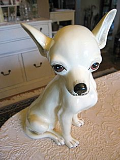Vintage life size Chihuahua dog figurine for sale at More Than McCoy on TIAS! Dog Sculpture, Sculptures, Chihuahua Dogs, Chihuahuas, Porcelain Dolls For Sale, Art Articles, Dog Information, Scottie, Pet Accessories
