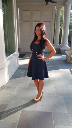 Love the idea of the navy dress with the white wedges. #stylegallery