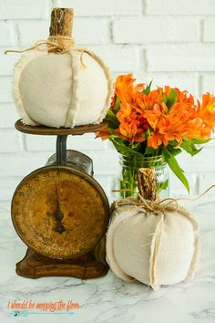 17 FANTASTIC Fabric Pumpkin Crafts To Try This Fall! Burlap Pumpkins, Faux Pumpkins, Fabric Pumpkins, Acorn Crafts, Fall Crafts, Diy Crafts, Tree Crafts, Halloween Crafts, Sewing Crafts