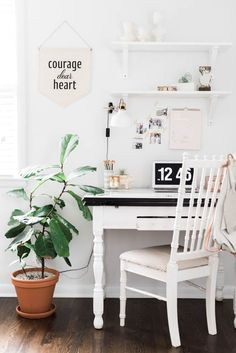 Home decorating ideas - small home office setup with wood desk and chair. Floating shelves and neutral accents   Design*Sponge