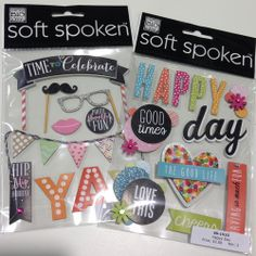 NEW CHA release mambi soft spoken embellishments.  Happy Day, mustache, banners.  Adorable!