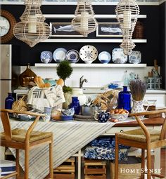 Rustic French country kitchen in blue and white.  www.HomeSense.ca / Table rustique française bleue et blanche. www.HomeSense.ca.