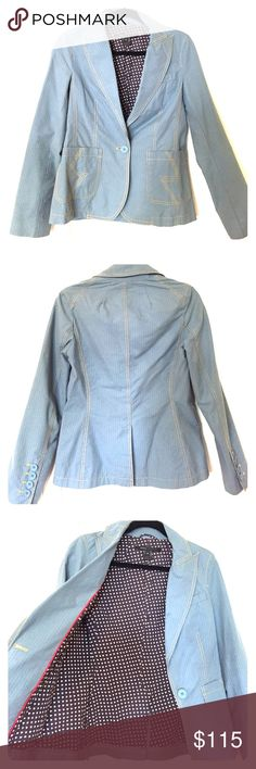 Marc by Marc Jacobs Blazer Marc by Marc Jacobs Pinstripe Blazer with hearts lining.  * Only worn once and in great condition! Dry cleaned and looks brand new.  Color: Blue with burgundy pinstripe Marc by Marc Jacobs Jackets & Coats Blazers