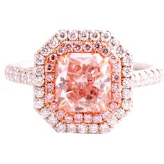 Fancy Orangy Pink 1.92 Ct Gia Diamond Ring at 1stdibs ❤ liked on Polyvore
