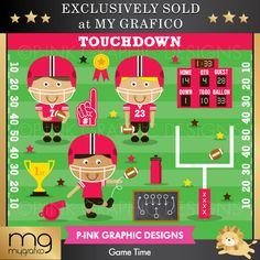 Game Time - Let's get ready for some football, with these adorable players and game time graphics.  Great for invitations, scrapbooking, web graphics and more.