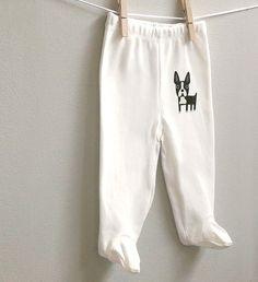 Baby pants cute Boston Terrier. 100% by squarepaisleydesign