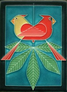 6x8 Cardinals Consorting (Charley Harper by Motawi)