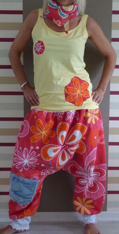 Upcycling Haremshose Kombi S M L 36 38 40 42 44 Jeans Retro Sarouel Pumphose