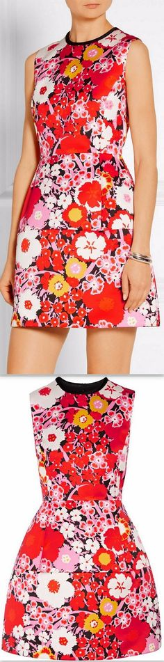 Floral Printed Red Mini Dress