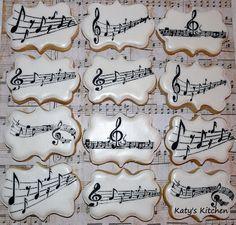 Custom cakes, cookies, and treats in Cedar Rapids, Iowa. Music Cookies, Star Cookies, Iced Cookies, Sugar Cookies Recipe, Sugar Cookie Royal Icing, Cookie Frosting, Tea Cakes, Cupcake Cakes, Cupcakes