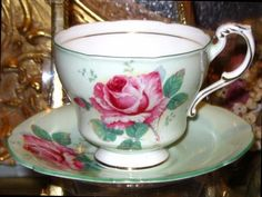 PISTACCHIO LIME & PINK ROSES PARAGON TEA CUP AND SAUCER English T
