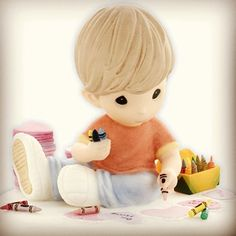 Little Boy Drawing with Crayons Precious Moment! <3