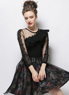 SheIn offers Black Round Neck Contrast Lace Shirred Ruffle Slim Blouse & more to fit your fashionable needs. Lace Ruffle, Lace Skirt, Fashion Outfits, Womens Fashion, Ladies Fashion, Style Fashion, Boutique, Elegant Woman, European Fashion