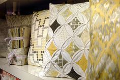 beautiful cathedral window grey and yellow pillow