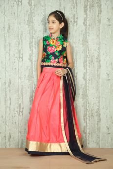 Love the Santoon Ghagra With Printed Choli from BenzerWorld! Gagra Choli, Bridal Outfits, Wedding Attire, Kurtis, Kids Wear, Lehenga, Kids Outfits, Girls Dresses, Indian