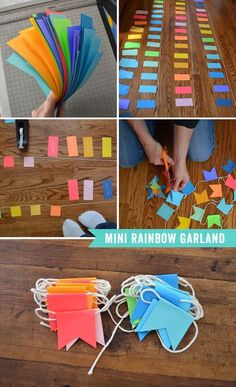 Mini Rainbow Garland- so simple to make! I could do this for Elizabeth's birthday party!Mini Rainbow Garland (Use the triangles left from cutting out for a sewn garland!) maybe for a holiday partyThis simple garland is easy to make and can be used an Diy And Crafts, Crafts For Kids, Arts And Crafts, Diy Girlande, Ramadan Crafts, Ramadan Sweets, Eid Crafts, Paper Crafting, Diy Gifts
