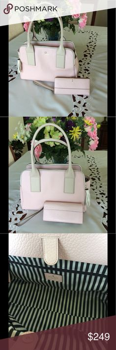 Kate Spade Purse and Wallet Bundle This gorgeous bag and wallet in a soft pink and tan will take you from spring to summer! The pebbled leather is to die for! The bag has double zippers and a large middle compartment. The wallet will hold your credit cards, cash and coins! kate spade Bags Satchels