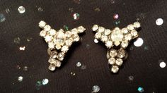 LOVELY Shoe Clips w/ Prong Set Clear Rhinestones by ceiltiques