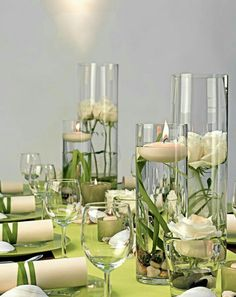- Lindgrün und Creme - lime green and cream - decoration An outdoor wedding on the water would be ju Diy Wedding, Wedding Flowers, Table Wedding, Wedding Centerpieces, Wedding Decorations, Deco Champetre, Marriage Vows, Beautiful Table Settings, Deco Floral