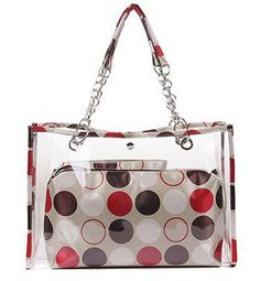 "Zicac Women's Clear Transparent Beach Colorful Dot Wallet Swimming Tote Shoulder Bag (Red). 2 in 1 style ,small dots bag in the big clear Handbag,small bag can be used as wrist bag or cosmetic bag. See through,transparent,cute dots design and fashion metal chain. Snap button closure. Clear handbag size:16""x3.9""x11""; Inner small bag:11.8""x3""x9.4""(L*W*H). Ideal for Beach,shopping,travel,dating,holidays as handbag,wrist bag,tote,shoulder bag."