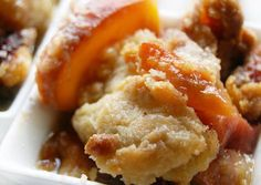 "peach ""crumble cobbler"" -- recipe uses both a cobbler dough and crumble for the spaces in between the dough.  Looks killer"