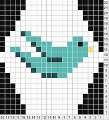 Bird chart for hexipuffs. Knitting Charts, Knitting Stitches, Knitting Patterns, Cross Stitching, Cross Stitch Embroidery, Cross Stitch Patterns, Crochet Chart, Knit Crochet, Chart Design