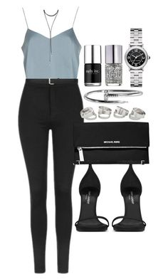 """Style #11114"" by vany-alvarado ❤️ liked on Polyvore featuring Topshop, Yves Saint Laurent, MICHAEL Michael Kors, Marc Jacobs, Nails Inc. and Forever 21"